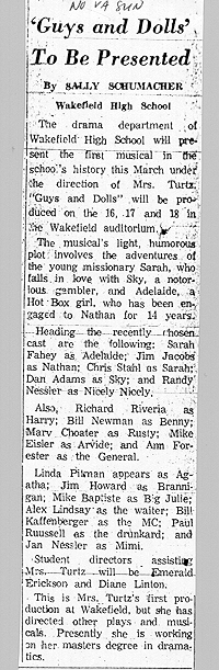Guys and Dolls newspaper article